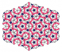 A Penrose tiling using thick and thin rhombi.